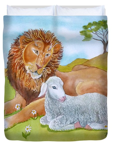 Lion And Lamb With Daises Duvet Cover
