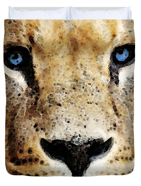 Lion Art - Blue Eyed King Duvet Cover