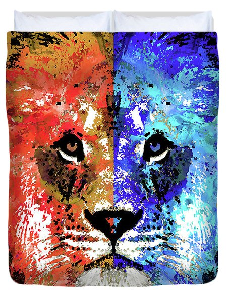 Duvet Cover featuring the painting Lion Art - Majesty - Sharon Cummings by Sharon Cummings