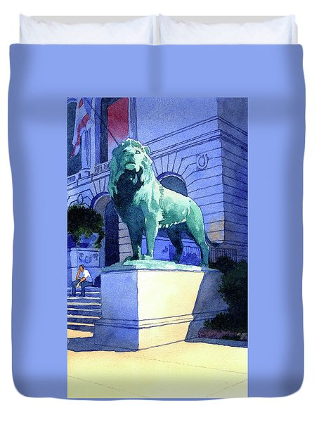 Lion At The Art Institue Of Chicago Duvet Cover