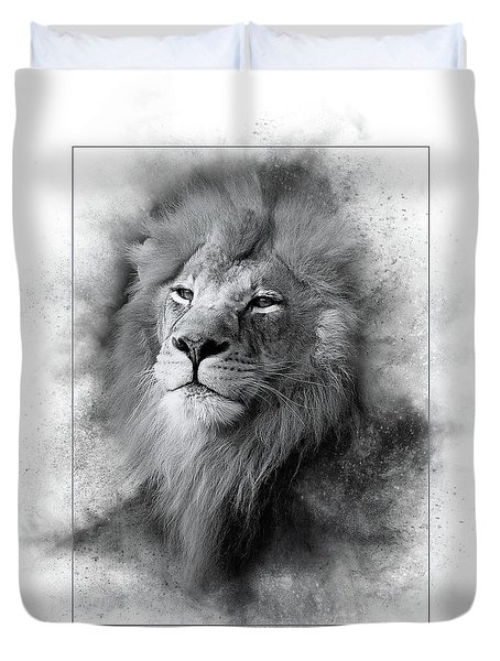 Lion Black White Duvet Cover