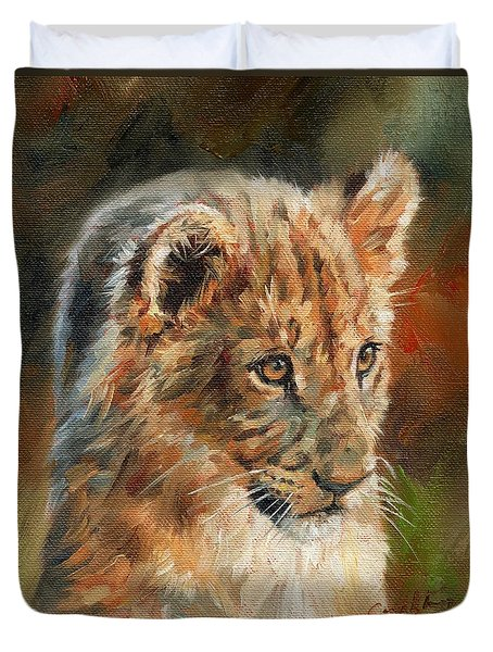 Duvet Cover featuring the painting Lion Cub Portrait by David Stribbling
