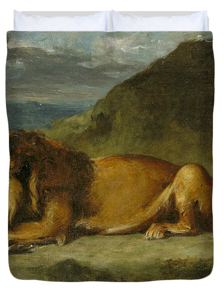 Lion Devouring A Goat Duvet Cover