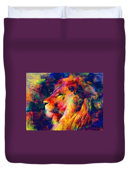 Lion Duvet Cover by Elena Kosvincheva