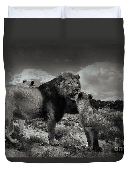 Duvet Cover featuring the photograph Lion Family by Christine Sponchia