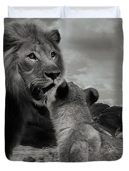 Duvet Cover featuring the photograph Lion Family Panorama by Christine Sponchia