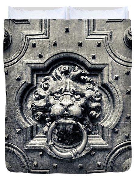 Lion Head Door Knocker Duvet Cover by Adam Romanowicz