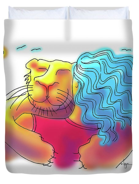 Duvet Cover featuring the drawing Lion Hug by Angela Treat Lyon