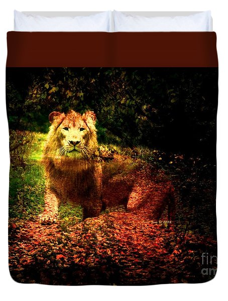 Lion In The Wilderness Duvet Cover by Annie Zeno