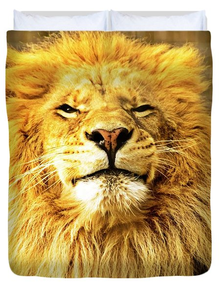 Duvet Cover featuring the photograph Lion King 1 by Ayasha Loya