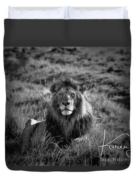 Duvet Cover featuring the photograph Lion King by Karen Lewis