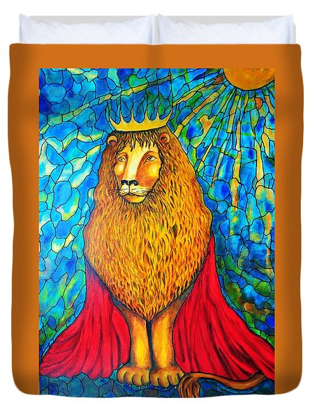 Duvet Cover featuring the painting Lion-king by Rae Chichilnitsky