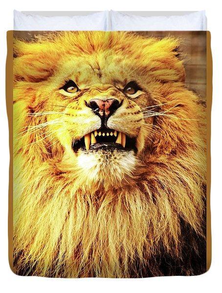 Duvet Cover featuring the photograph Lion King Smiling by Ayasha Loya