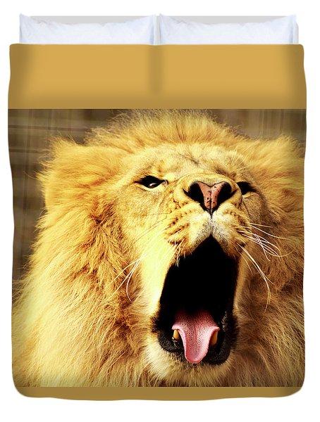 Lion King Yawning Duvet Cover by Ayasha Loya