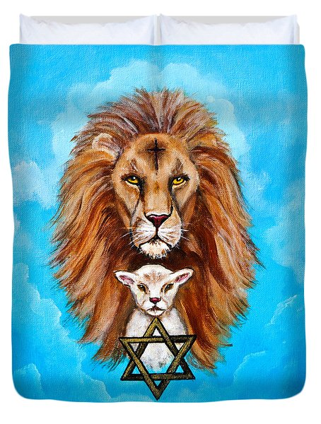 Duvet Cover featuring the painting Lion Lies Down With A Lamb by Bob and Nadine Johnston