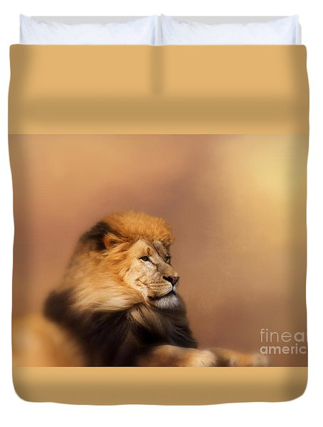 Lion Memories Duvet Cover by Myrna Bradshaw