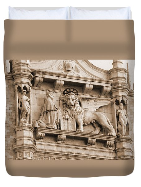 Lion Of Venice With The Doge Duvet Cover