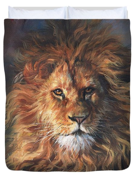 Duvet Cover featuring the painting Lion Portrait by David Stribbling