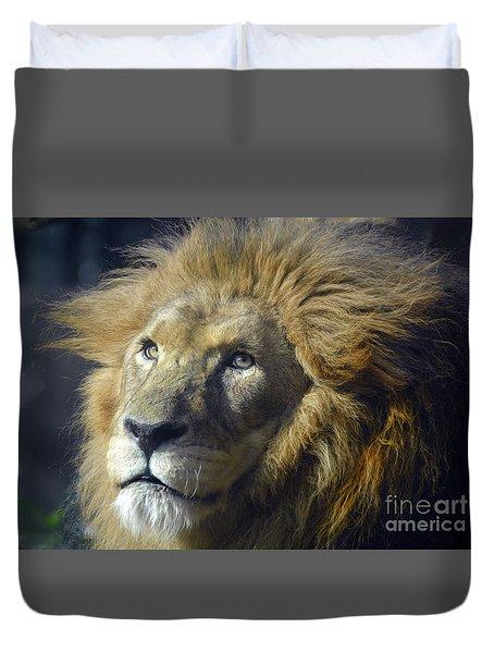 Duvet Cover featuring the photograph Lion Portrait by Savannah Gibbs