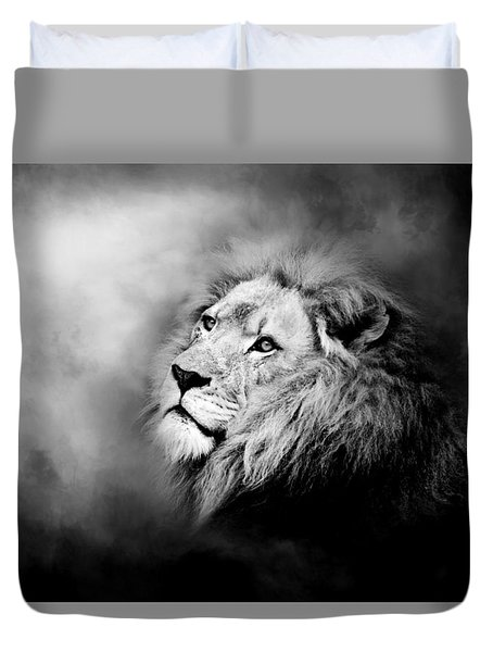 Lion - Pride Of Africa II - Tribute To Cecil In Black And White Duvet Cover
