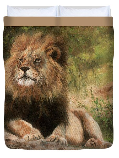 Duvet Cover featuring the painting Lion Resting by David Stribbling