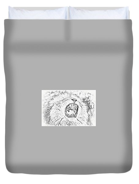 Lion Roar Drawing Duvet Cover