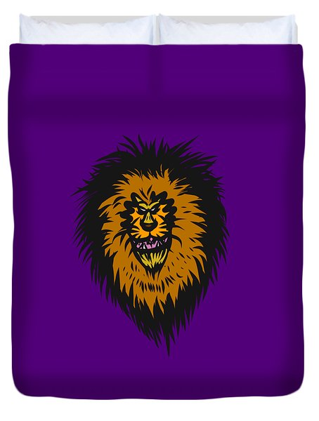 Lion Roar Purple Duvet Cover