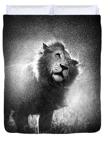 Lion Shaking Off Water Duvet Cover