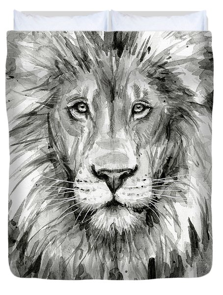Lion Watercolor  Duvet Cover by Olga Shvartsur