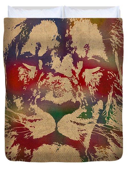 Lion Watercolor Portrait On Worn Canvas Duvet Cover