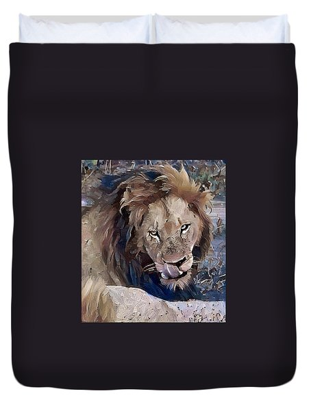 Lion With Tongue Duvet Cover
