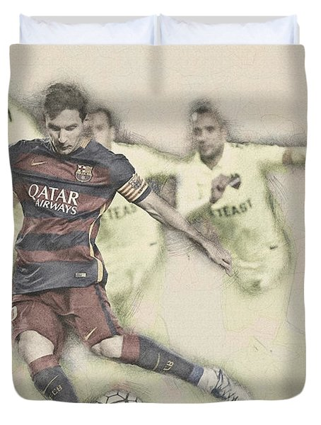 Lionel Messi Scores A Penalty Kick Against Levante  Duvet Cover
