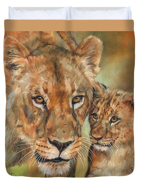 Duvet Cover featuring the painting Lioness And Cub by David Stribbling