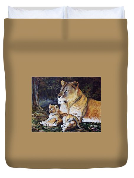Lioness And Cub Duvet Cover by Ruanna Sion Shadd a'Dann'l Yoder