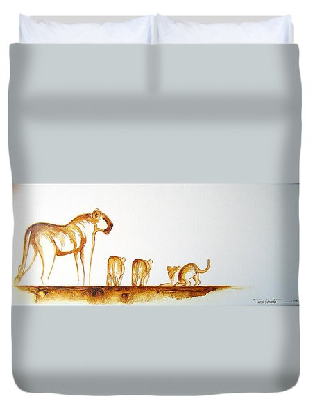 Lioness And Cubs Small - Original Artwork Duvet Cover