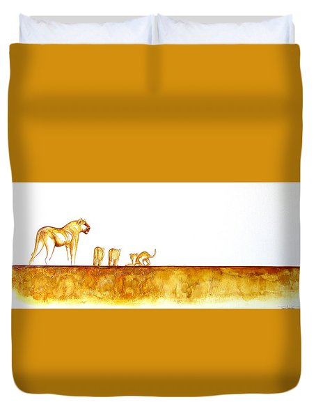 Lioness And Cubs - Original Artwork Duvet Cover