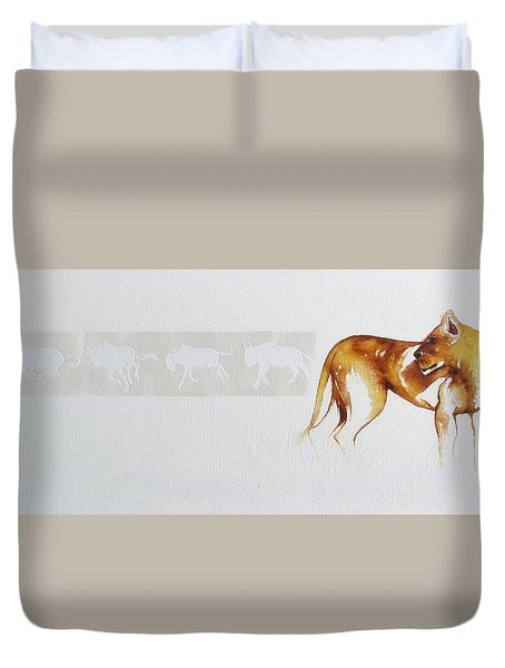 Lioness And Wildebeest Duvet Cover