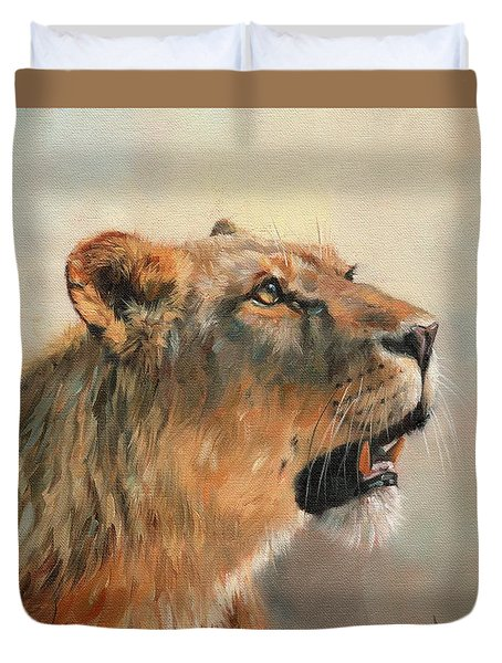 Duvet Cover featuring the painting Lioness Portrait 2 by David Stribbling
