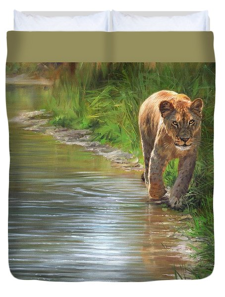 Duvet Cover featuring the painting Lioness. Water's Edge by David Stribbling