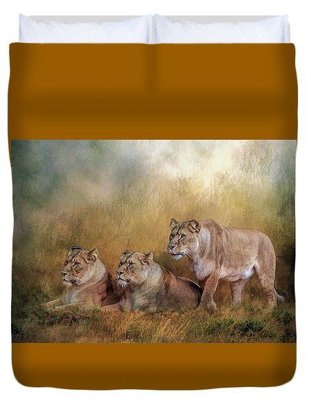 Lionesses Watching The Herd Duvet Cover