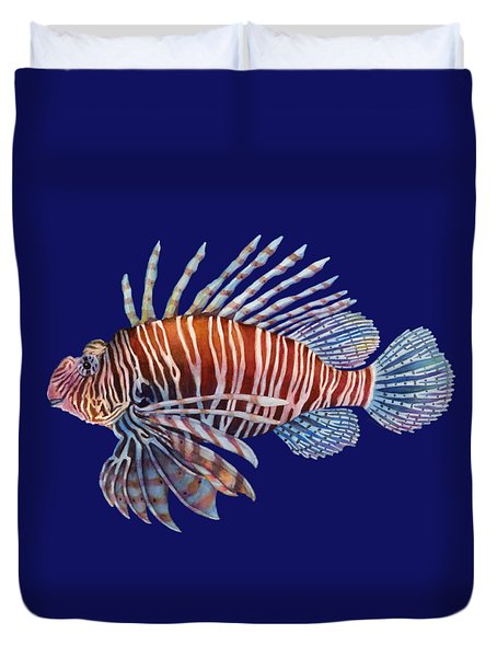 Lionfish In Black Duvet Cover