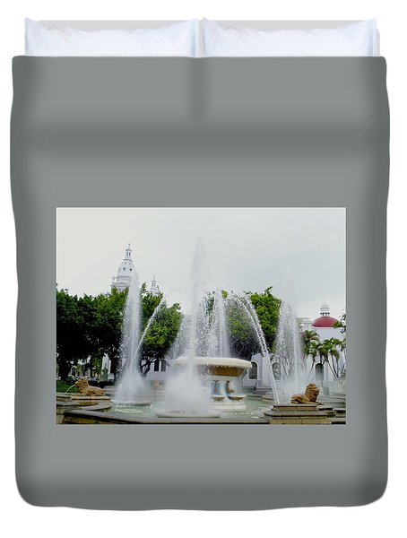 Lions Fountain, Ponce, Puerto Rico Duvet Cover