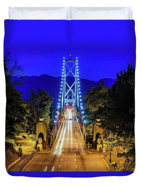 Lions Gate Bridge At Night Duvet Cover