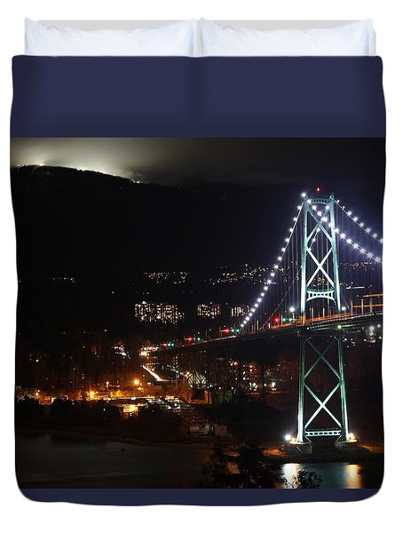 Lions Gate Bridge And Grouse Mountain Duvet Cover