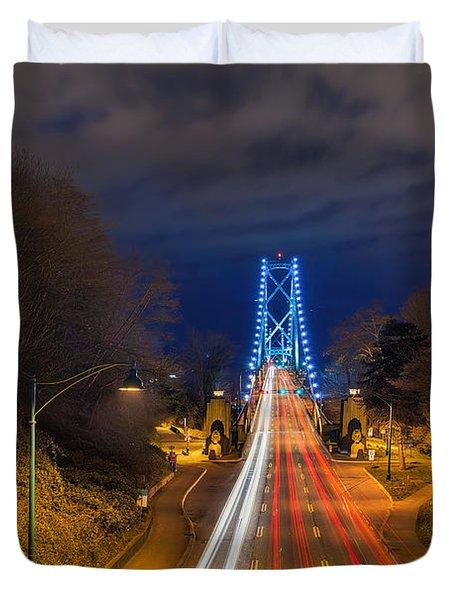 Lions Gate Bridge Light Trails Duvet Cover by David Gn