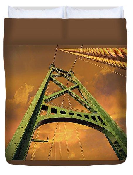 Lions Gate Bridge Tower Duvet Cover by David Gn