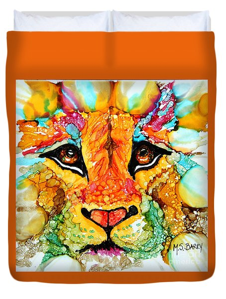 Lion's Head Gold Duvet Cover