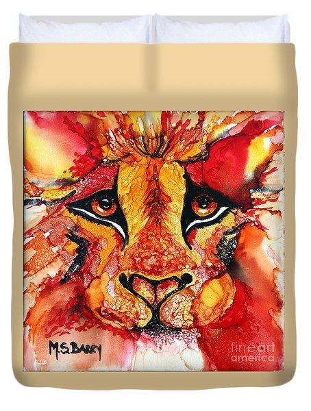 Lion's Head  Red Duvet Cover