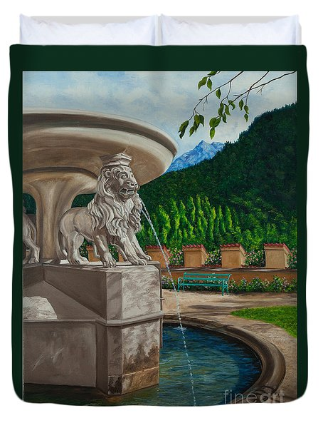 Lions Of Bavaria Duvet Cover by Charlotte Blanchard