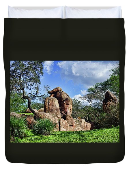 Duvet Cover featuring the photograph Lions On The Rock by B Wayne Mullins